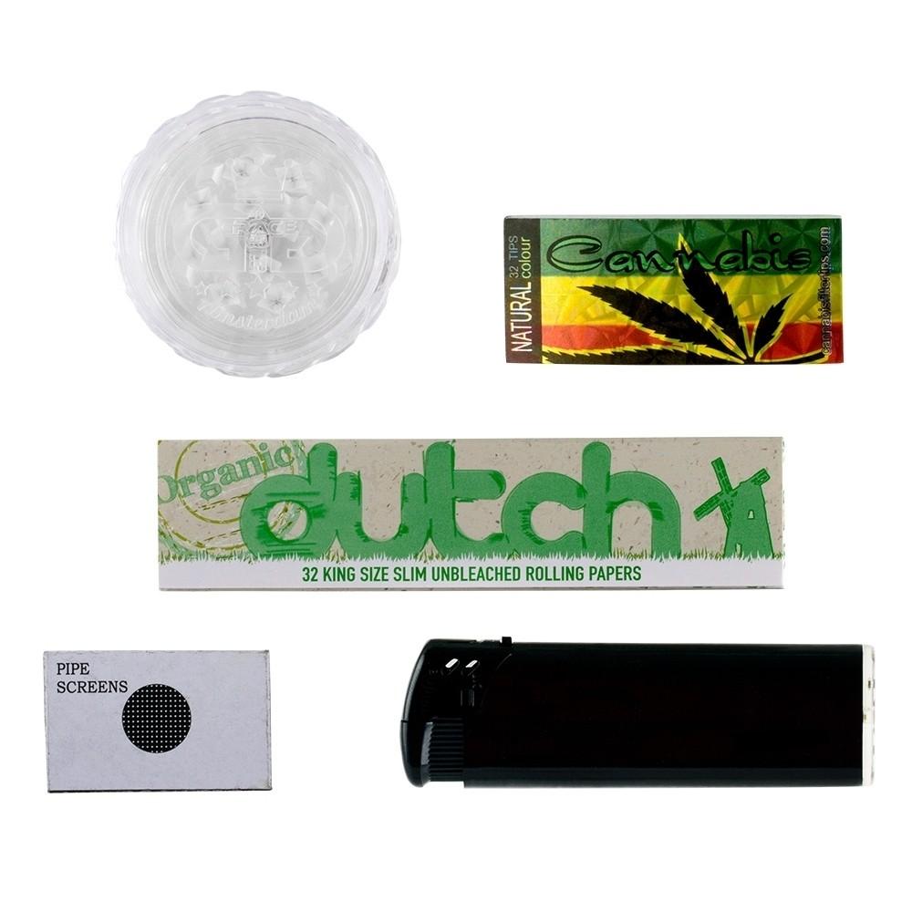 Complete set Greenline Bong giftset met 1x Bong - 1x Grinder - 1x aansteker - 5x scherm - 1x KS R LG08-SET